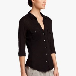 James Perse black side panel button up shirt